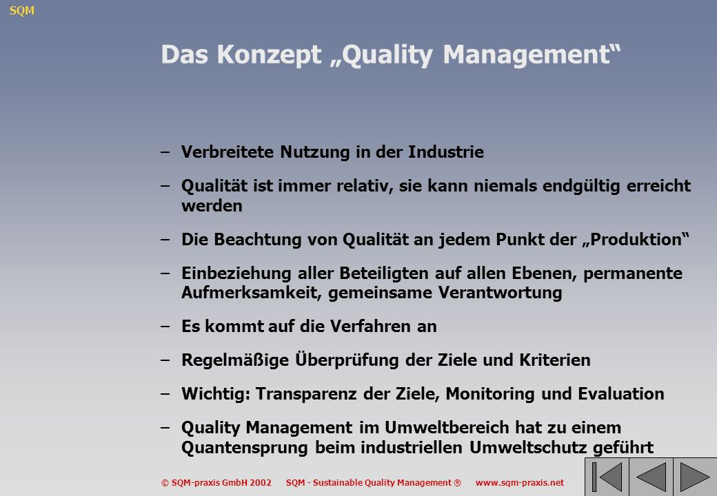 "Das Konzept ""Quality Management"