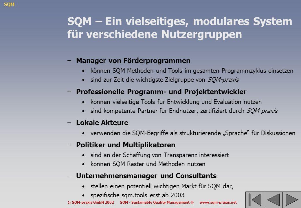 SQM – Ein vielseitiges, modulares System für verschiedene Nutzergruppen