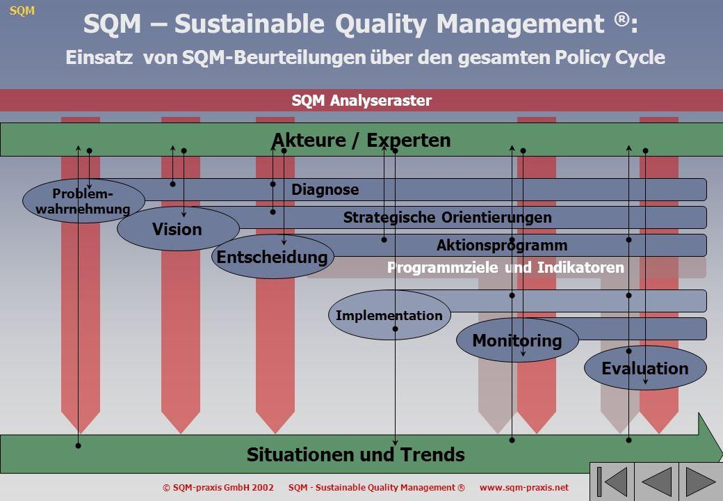 SQM – Sustainable Quality Management ®: Einsatz von SQM-Beurteilungen über den gesamten Policy Cycle