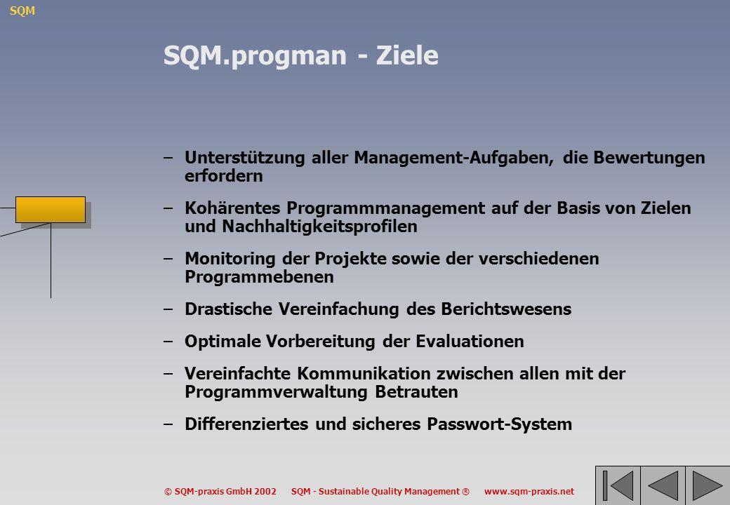 SQM.progman - Ziele Unterstützung aller Management-Aufgaben, die Bewertungen erfordern.