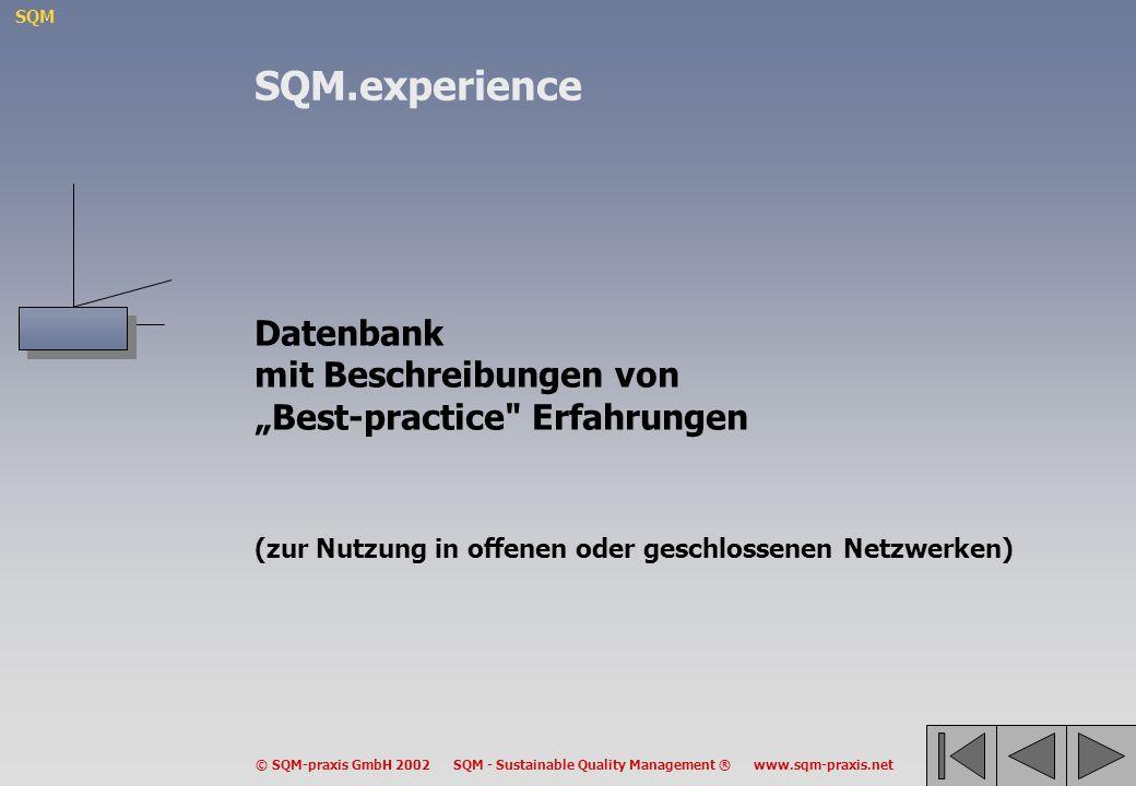 """SQM.experience Datenbank mit Beschreibungen von """"Best-practice Erfahrungen (zur Nutzung in offenen oder geschlossenen Netzwerken)"""