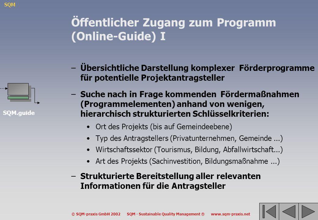 Öffentlicher Zugang zum Programm (Online-Guide) I