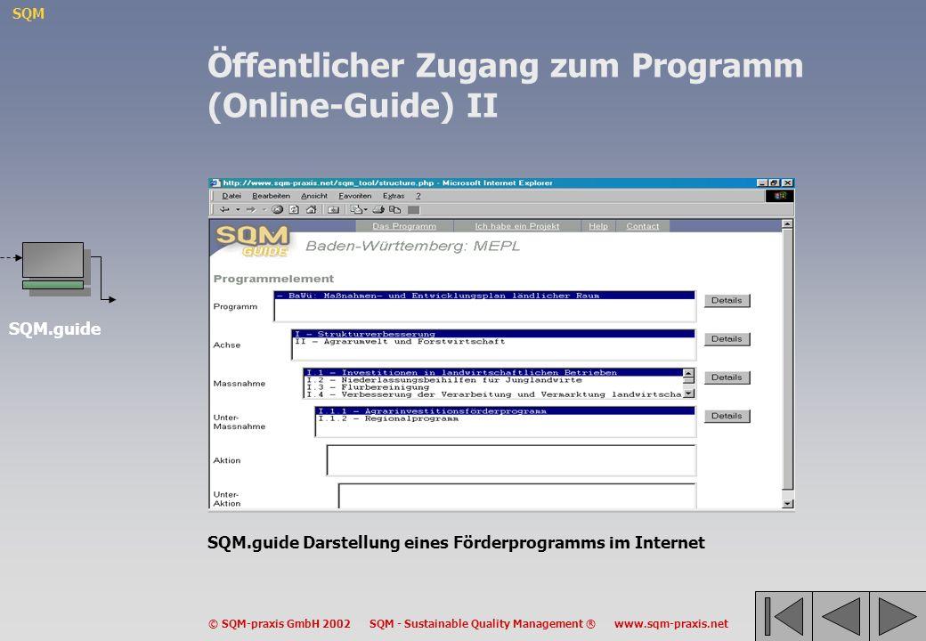 Öffentlicher Zugang zum Programm (Online-Guide) II