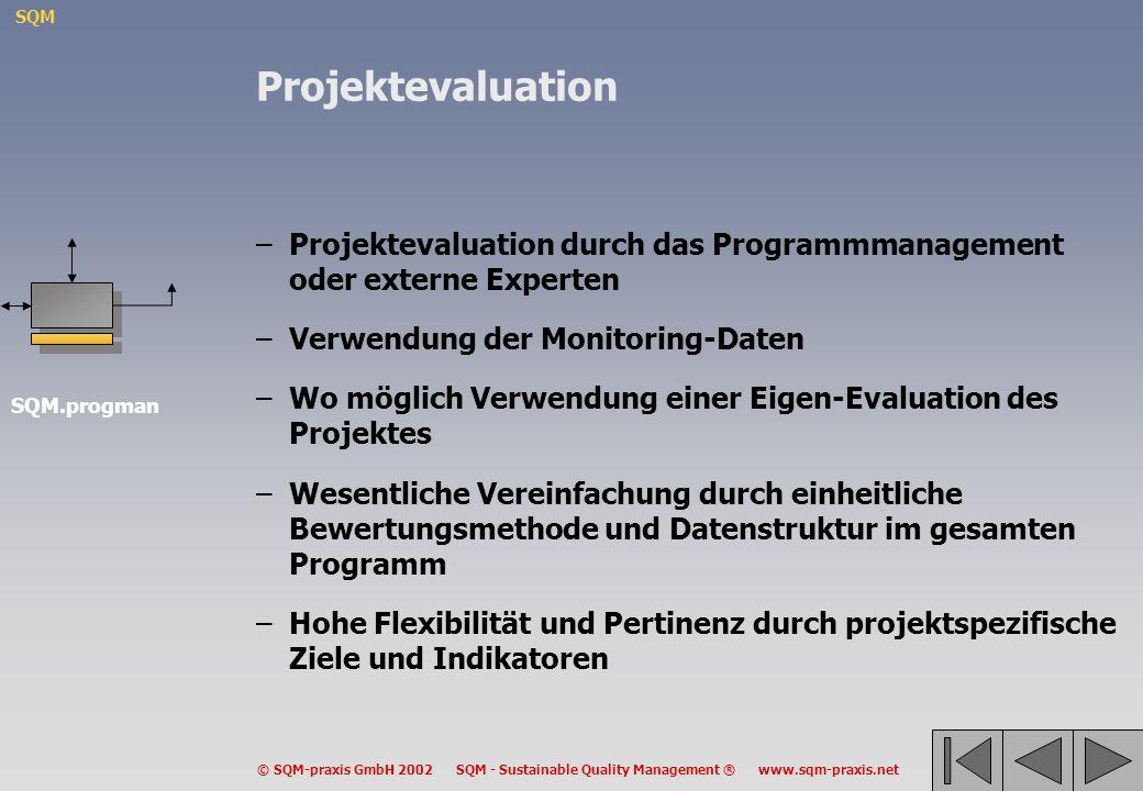 Projektevaluation Projektevaluation durch das Programmmanagement oder externe Experten. Verwendung der Monitoring-Daten.