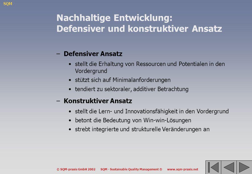 Nachhaltige Entwicklung: Defensiver und konstruktiver Ansatz