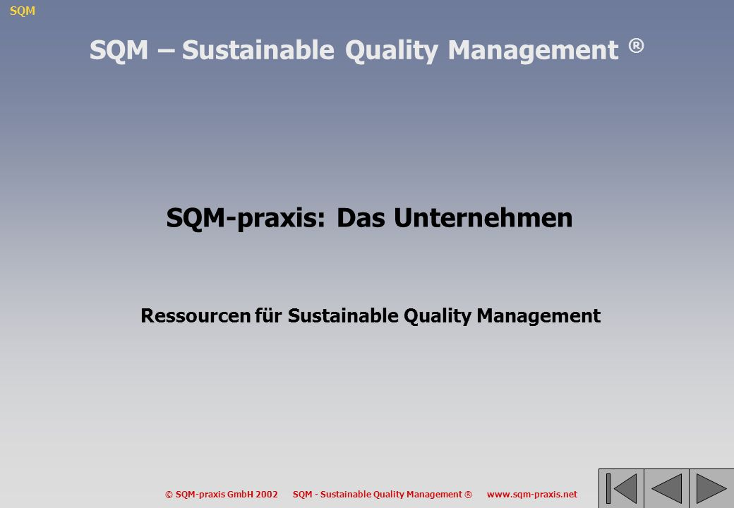 SQM – Sustainable Quality Management ® SQM-praxis: Das Unternehmen