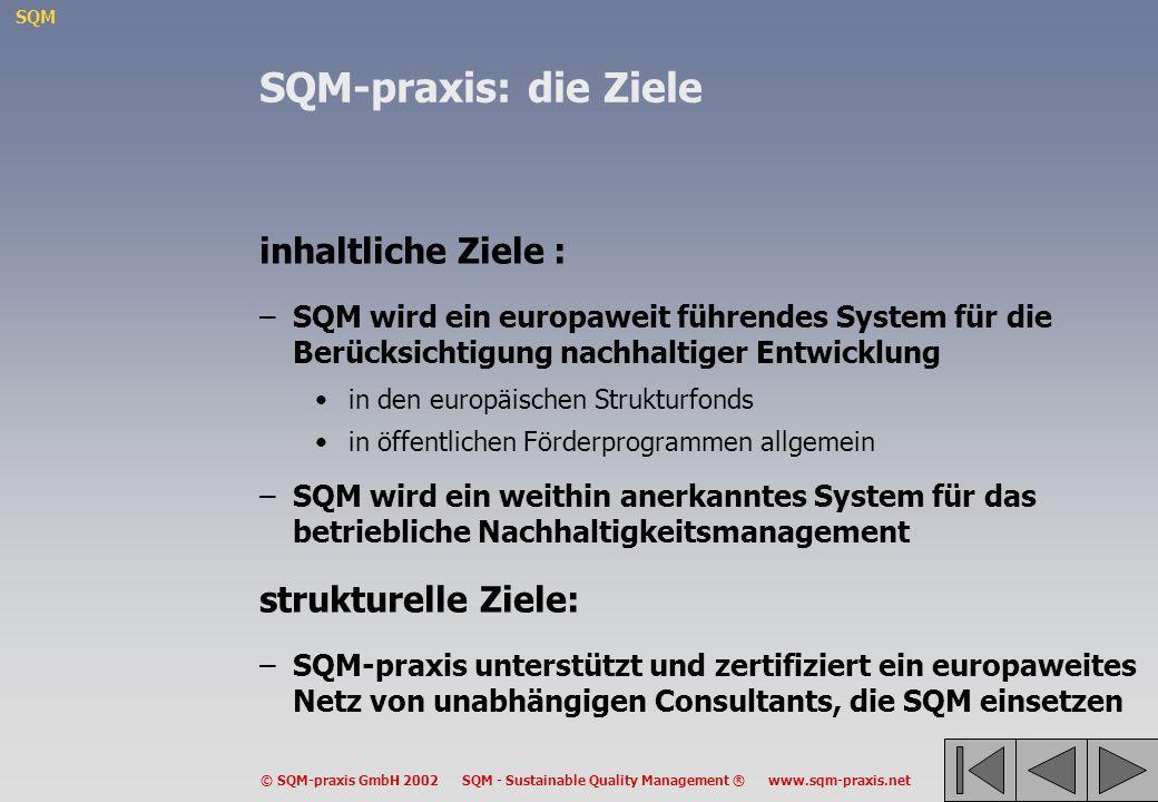 SQM-praxis: die Ziele inhaltliche Ziele : strukturelle Ziele: