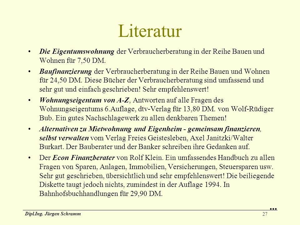 Literatur Die Eigentumswohnung der Verbraucherberatung in der Reihe Bauen und Wohnen für 7,50 DM.
