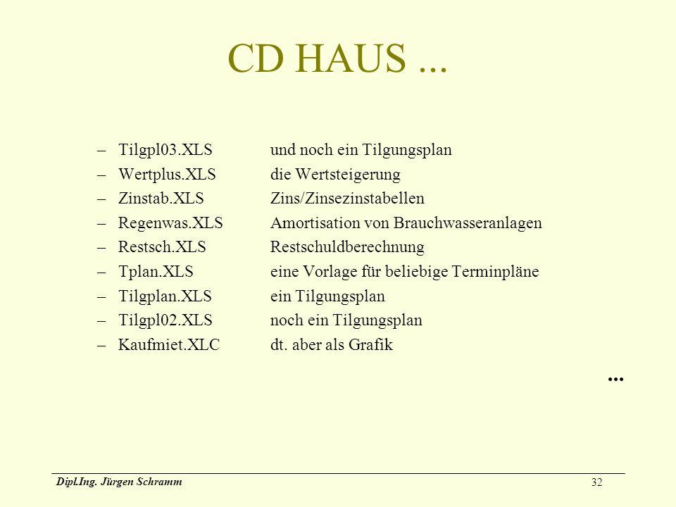 CD HAUS ... ... Tilgpl03.XLS und noch ein Tilgungsplan