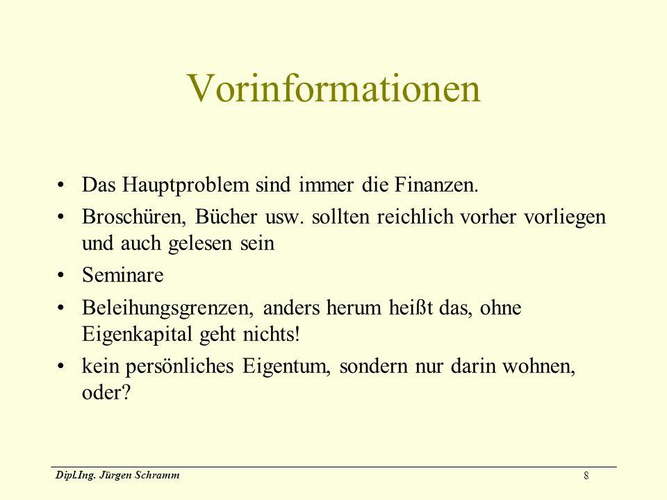 Vorinformationen Das Hauptproblem sind immer die Finanzen.