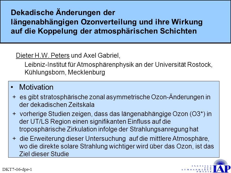 Dekadische Änderungen der längenabhängigen Ozonverteilung und ihre Wirkung auf die Koppelung der atmosphärischen Schichten