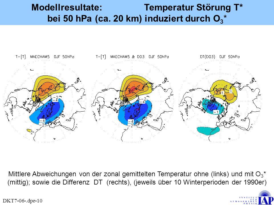 Modellresultate: Temperatur Störung T. bei 50 hPa (ca