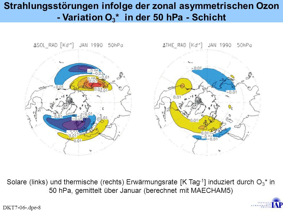 Strahlungsstörungen infolge der zonal asymmetrischen Ozon - Variation O3* in der 50 hPa - Schicht