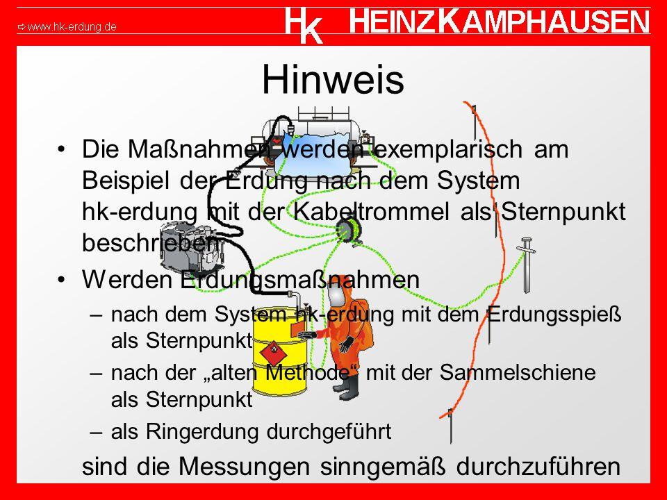 HinweisDie Maßnahmen werden exemplarisch am Beispiel der Erdung nach dem System hk-erdung mit der Kabeltrommel als Sternpunkt beschrieben.