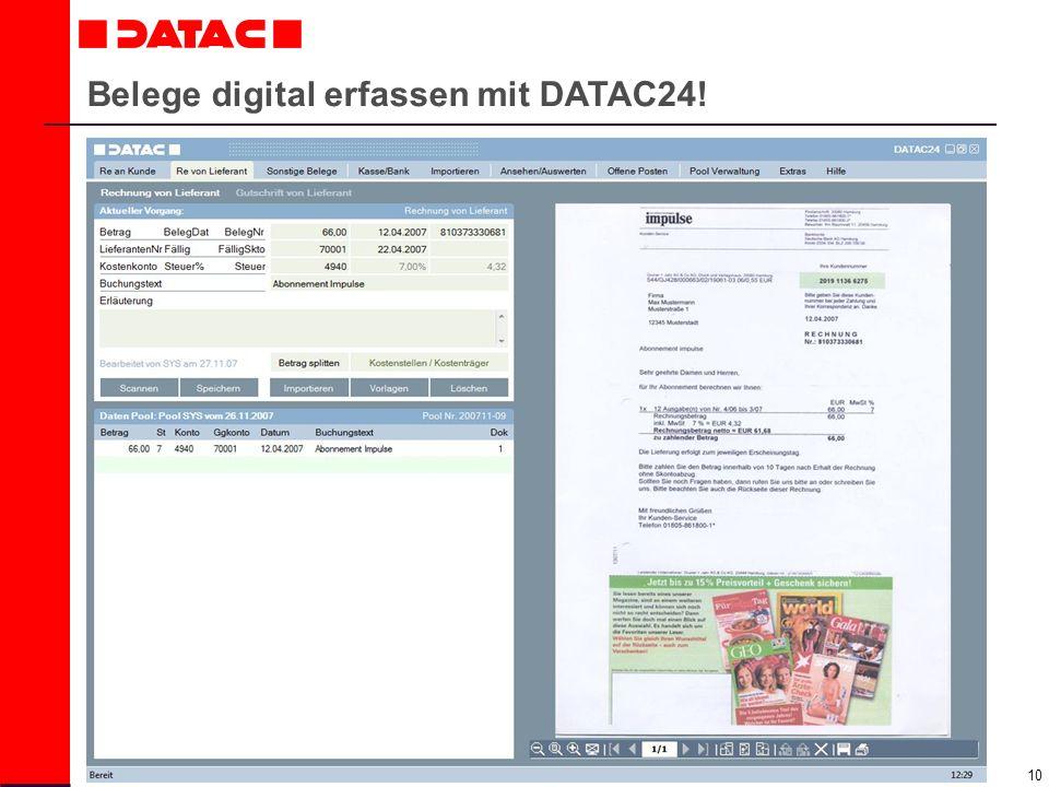 Belege digital erfassen mit DATAC24!