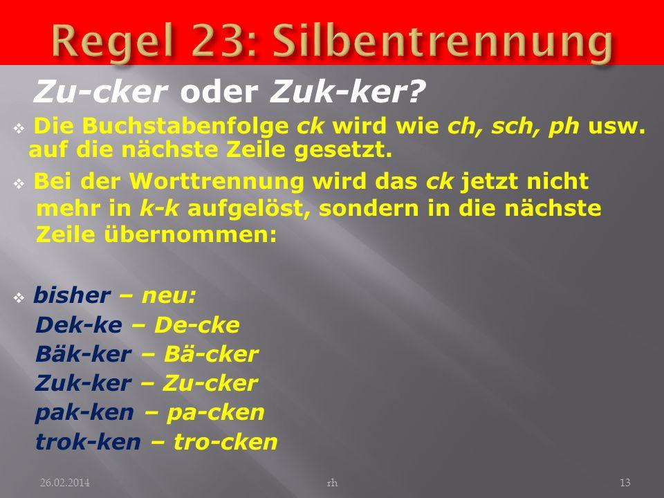 Regel 23: Silbentrennung