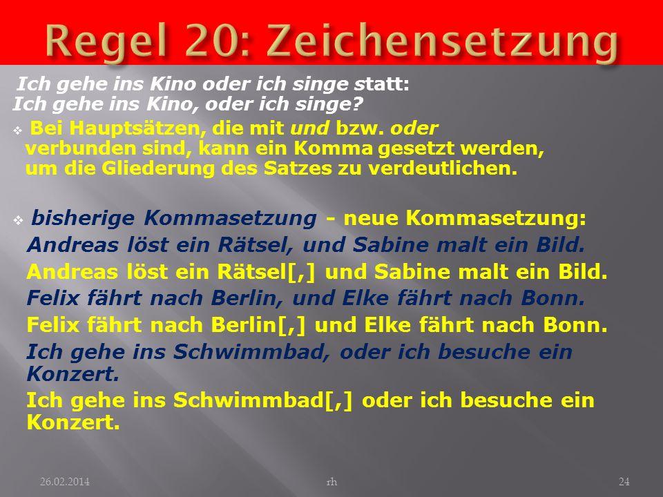 Regel 20: Zeichensetzung