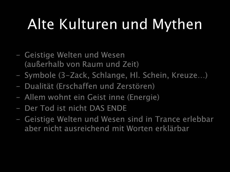 Alte Kulturen und Mythen