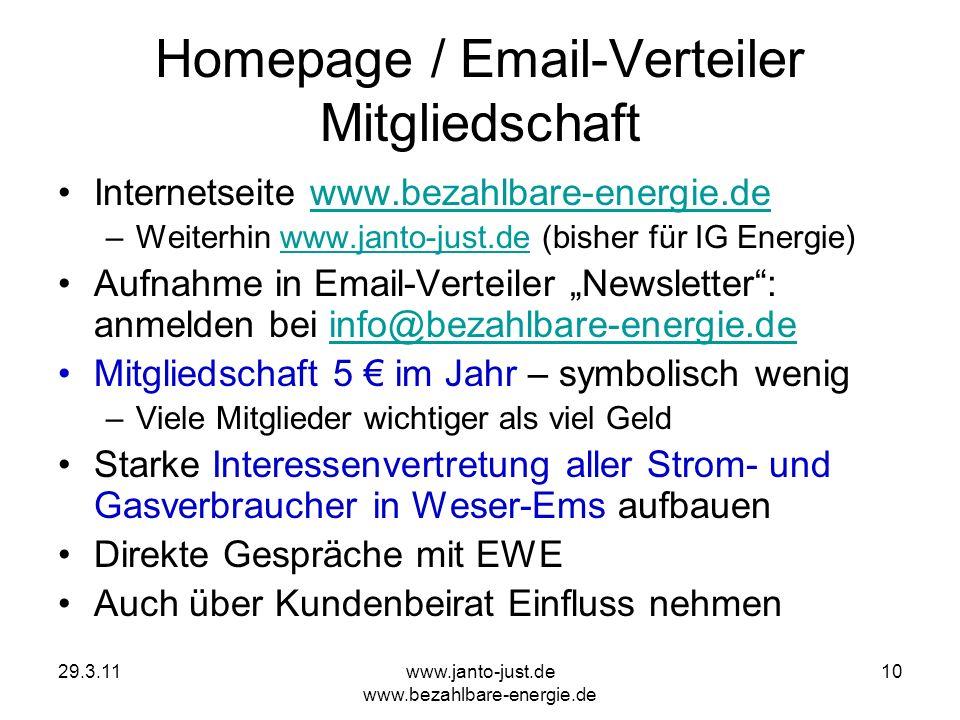 Homepage / Email-Verteiler Mitgliedschaft