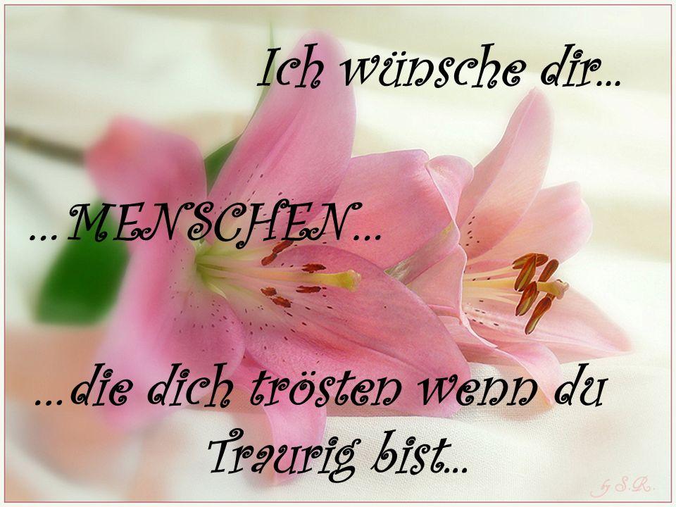 Ich wünsche dir... …MENSCHEN… …die dich trösten wenn du Traurig bist...
