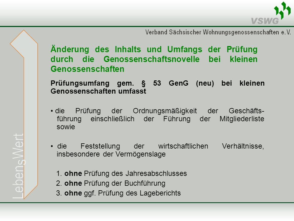 Änderung des Inhalts und Umfangs der Prüfung durch die Genossenschaftsnovelle bei kleinen Genossenschaften