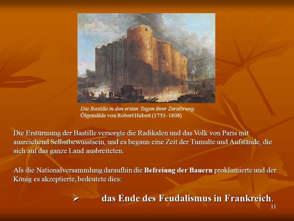 das Ende des Feudalismus in Frankreich.