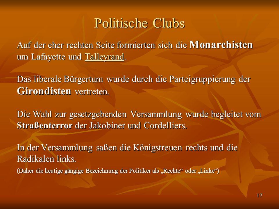 Politische Clubs Girondisten vertreten.