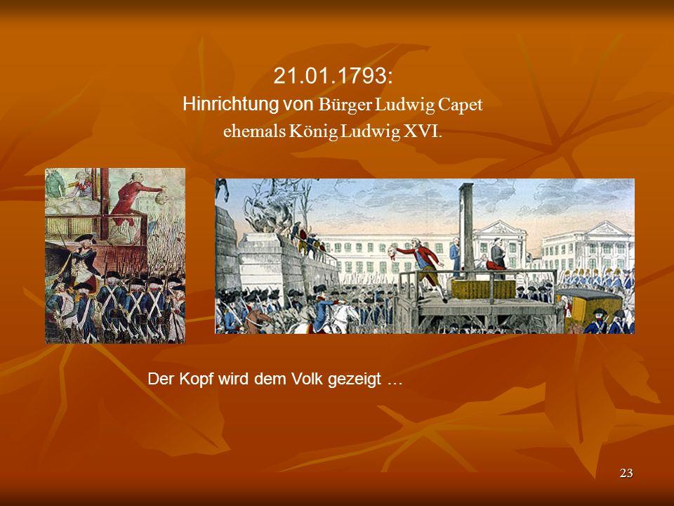 21.01.1793: Hinrichtung von Bürger Ludwig Capet