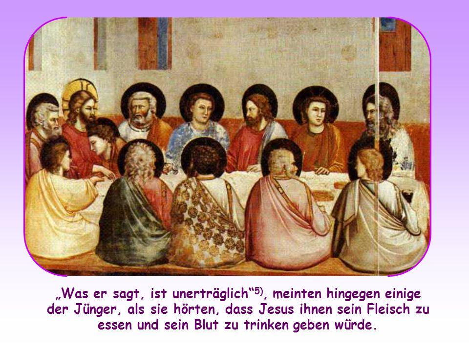 """""""Was er sagt, ist unerträglich 5), meinten hingegen einige der Jünger, als sie hörten, dass Jesus ihnen sein Fleisch zu essen und sein Blut zu trinken geben würde."""