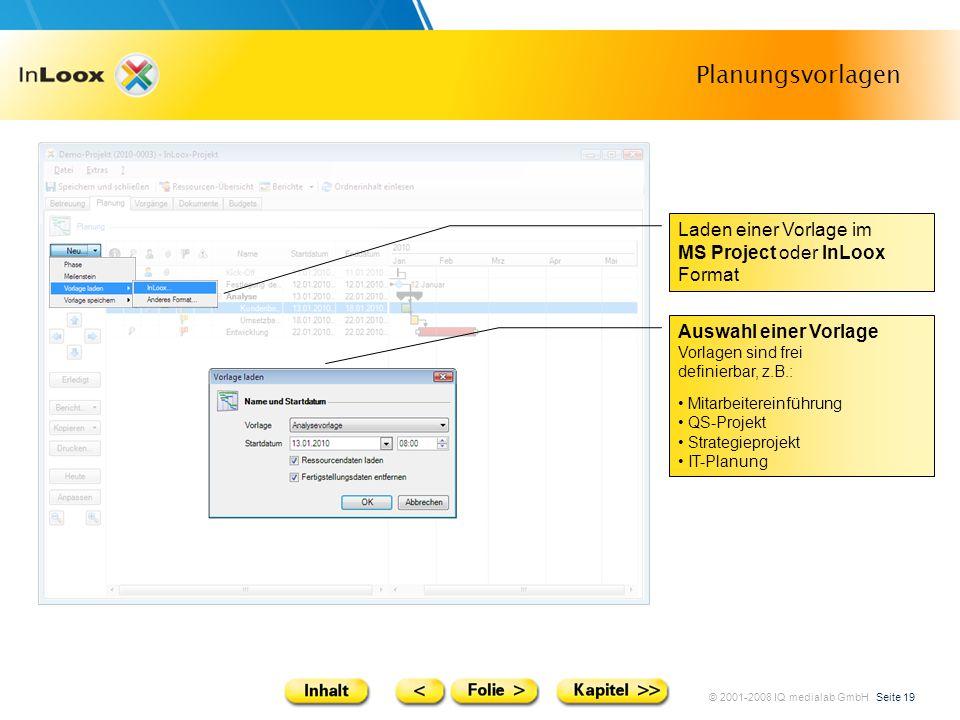 Planungsvorlagen Laden einer Vorlage im MS Project oder InLoox Format