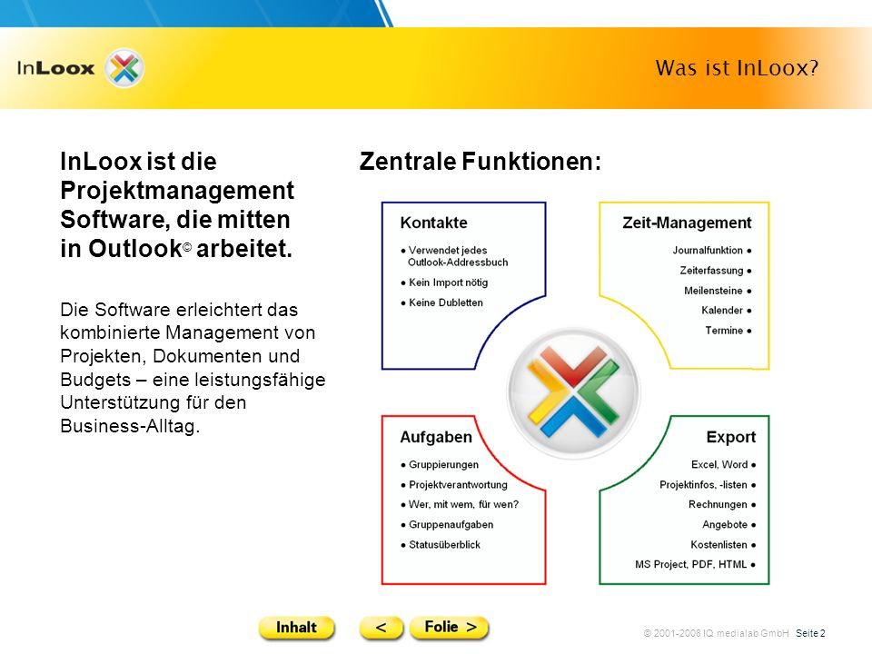 Was ist InLoox InLoox ist die Projektmanagement Software, die mitten in Outlook© arbeitet. Zentrale Funktionen:
