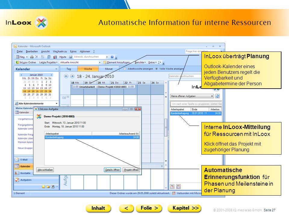 Automatische Information für interne Ressourcen