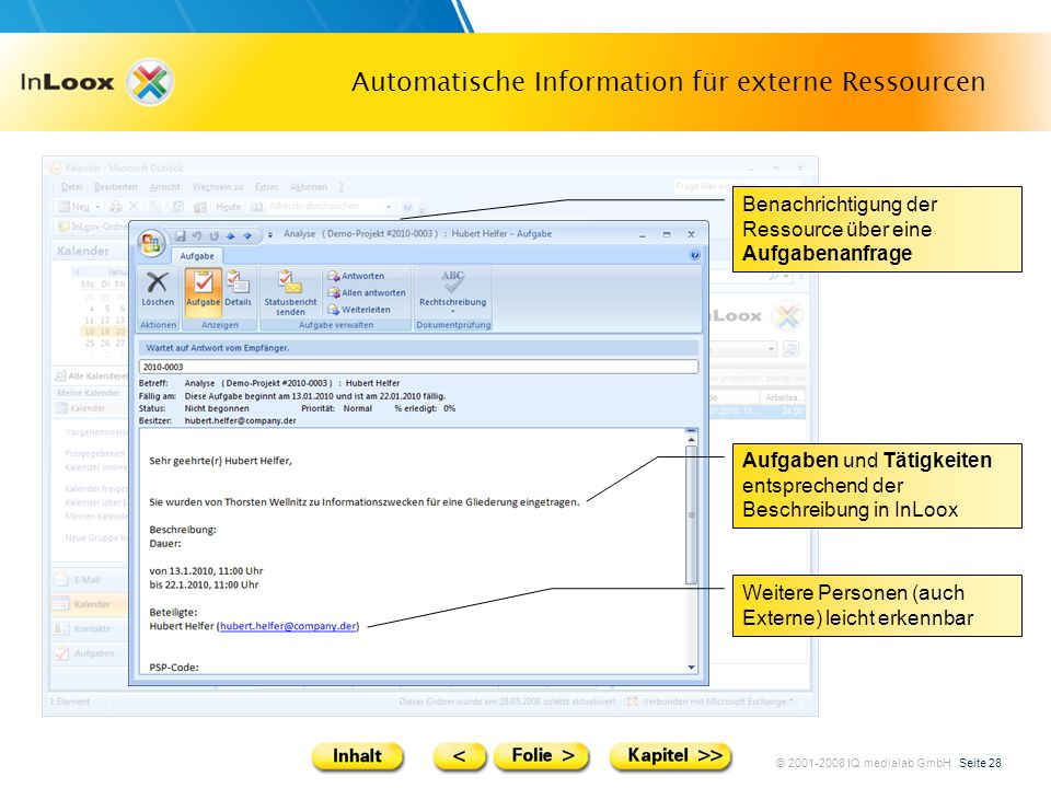 Automatische Information für externe Ressourcen