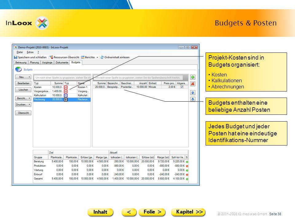 Budgets & Posten Projekt-Kosten sind in Budgets organisiert: