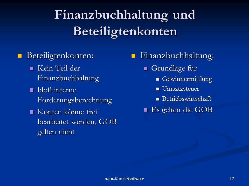 Finanzbuchhaltung und Beteiligtenkonten