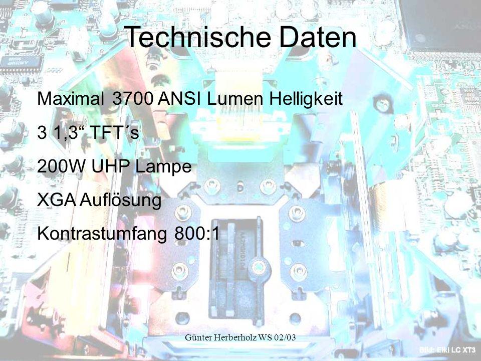 Technische Daten Maximal 3700 ANSI Lumen Helligkeit 3 1,3 TFT´s