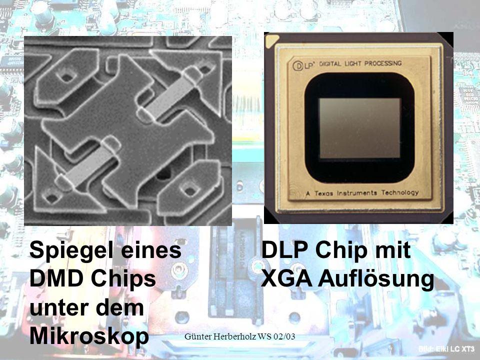 Spiegel eines DMD Chips unter dem Mikroskop DLP Chip mit XGA Auflösung