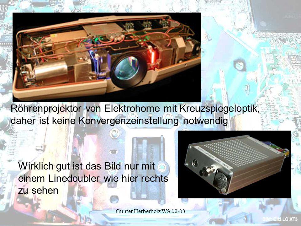 Röhrenprojektor von Elektrohome mit Kreuzspiegeloptik, daher ist keine Konvergenzeinstellung notwendig