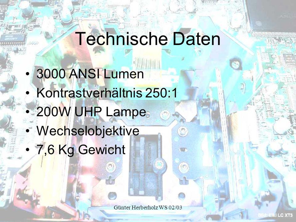 Technische Daten 3000 ANSI Lumen Kontrastverhältnis 250:1