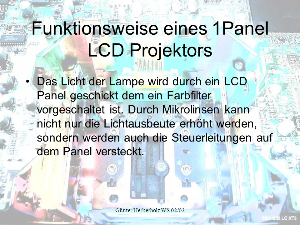 Funktionsweise eines 1Panel LCD Projektors