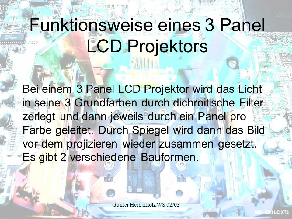 Funktionsweise eines 3 Panel LCD Projektors