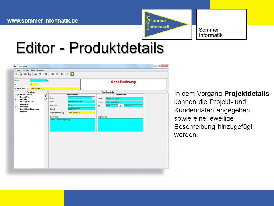 Editor - Produktdetails