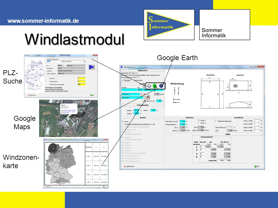 Windlastmodul Google Earth PLZ- Suche Google Maps Windzonen- karte