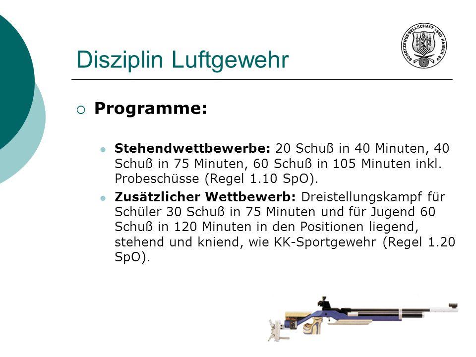 Disziplin Luftgewehr Programme: