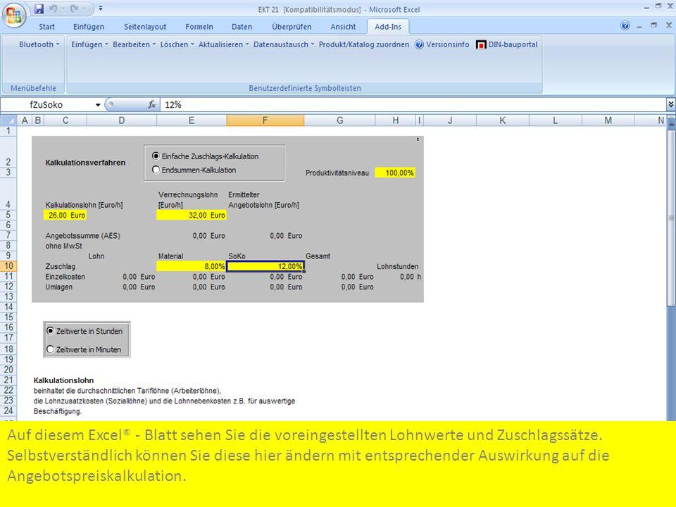 Auf diesem Excel® - Blatt sehen Sie die voreingestellten Lohnwerte und Zuschlagssätze.