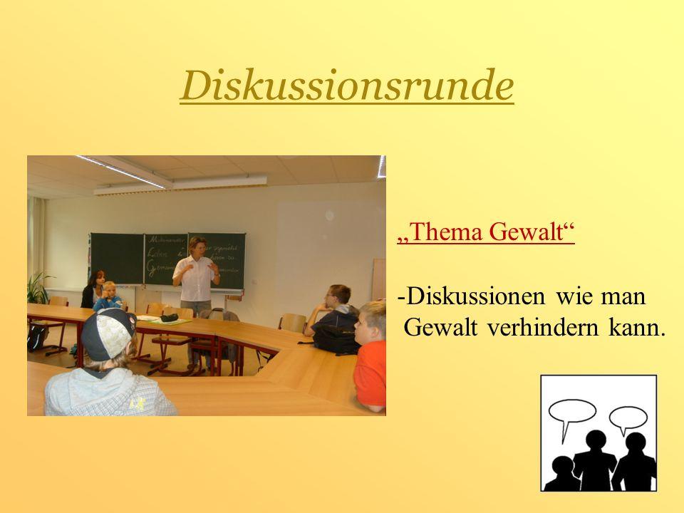 """Diskussionsrunde """"Thema Gewalt Diskussionen wie man"""