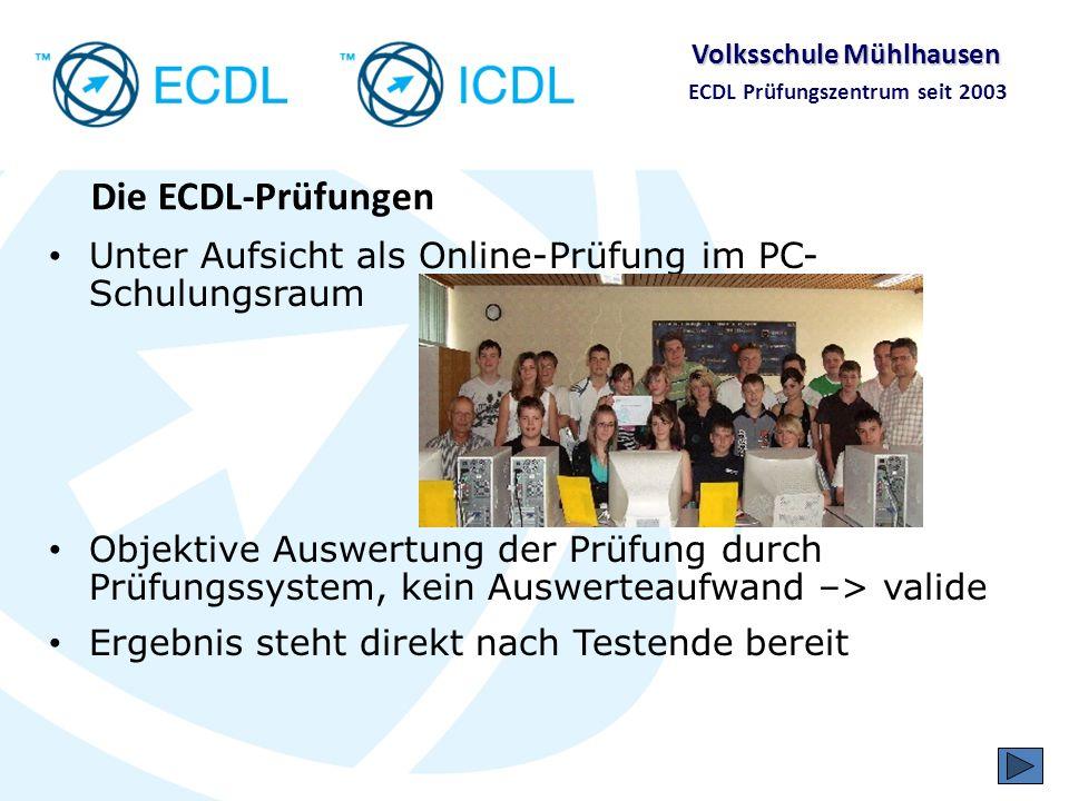 Die ECDL-PrüfungenUnter Aufsicht als Online-Prüfung im PC-Schulungsraum.