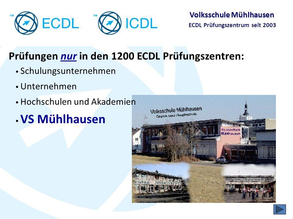 Prüfungen nur in den 1200 ECDL Prüfungszentren: