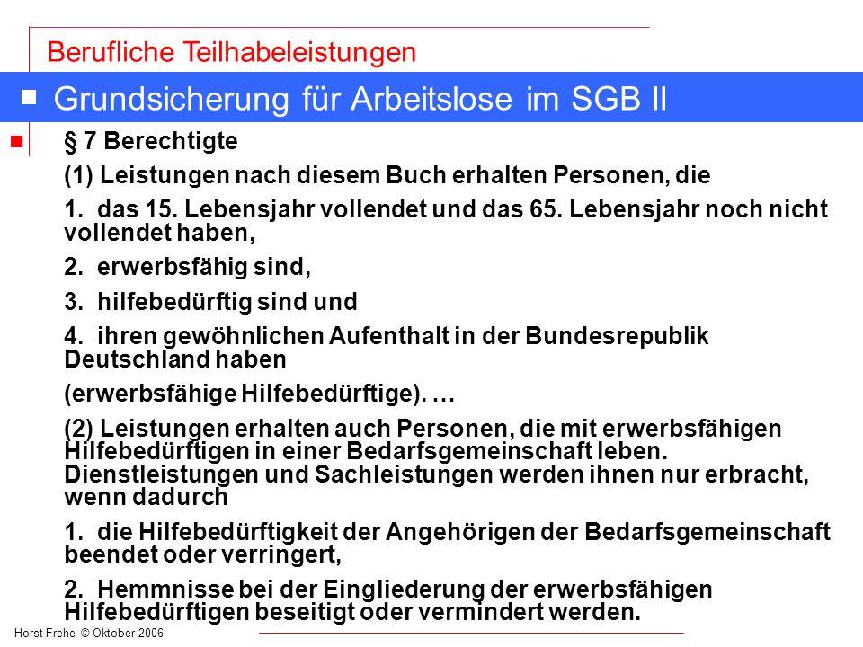 Grundsicherung für Arbeitslose im SGB II