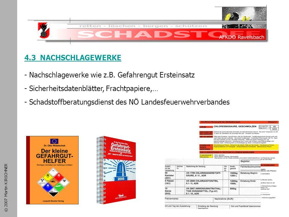 Schadstoffeinsatz 4.3 NACHSCHLAGEWERKE
